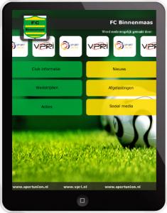 FC Binnenmaas (mix groen, geel) zwarte letters Applicatie-Ontwerp